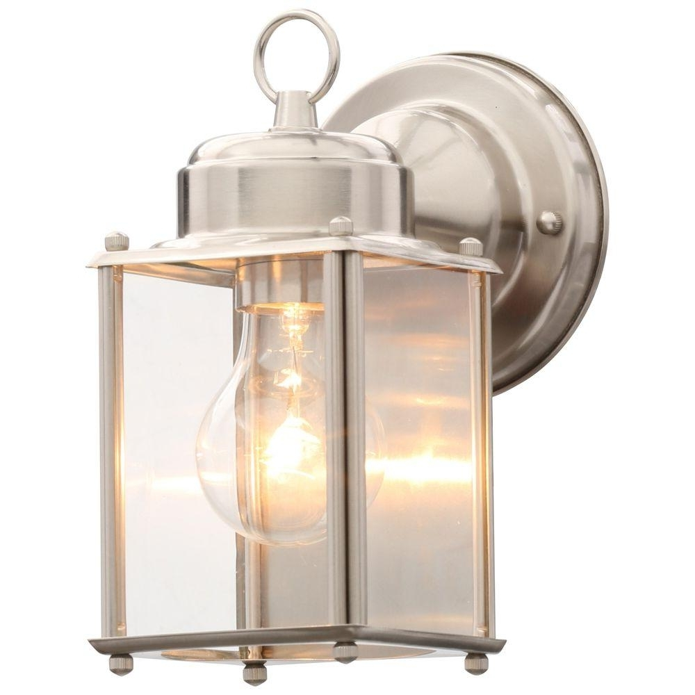 Nickel Outdoor Lanterns For Trendy Progress Lighting Brushed Nickel Outdoor Wall Lantern P5607 09 – The (Gallery 2 of 20)