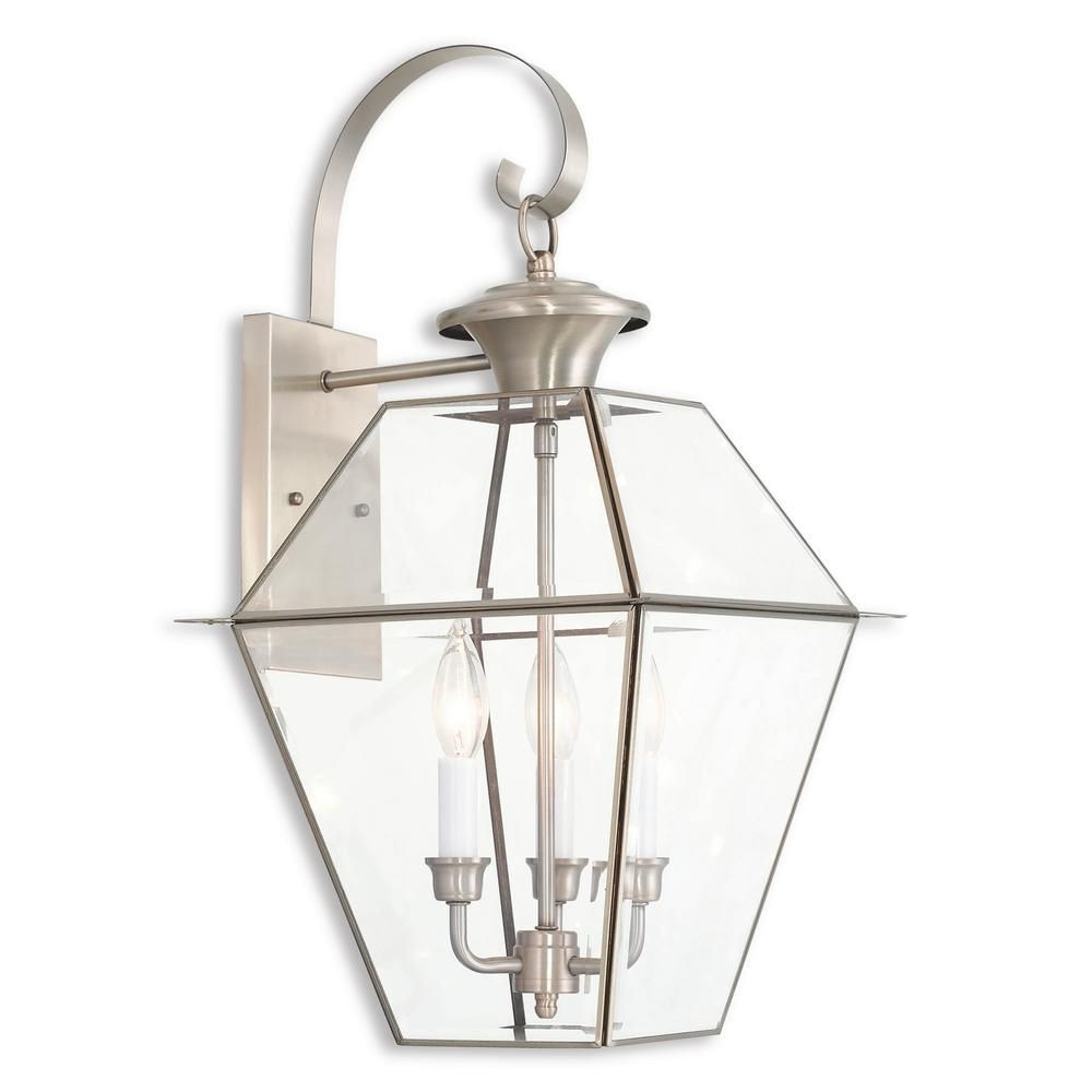Nickel Outdoor Lanterns Inside Widely Used Westover 3 Light Brushed Nickel Outdoor Wall Mount Lantern (View 11 of 20)