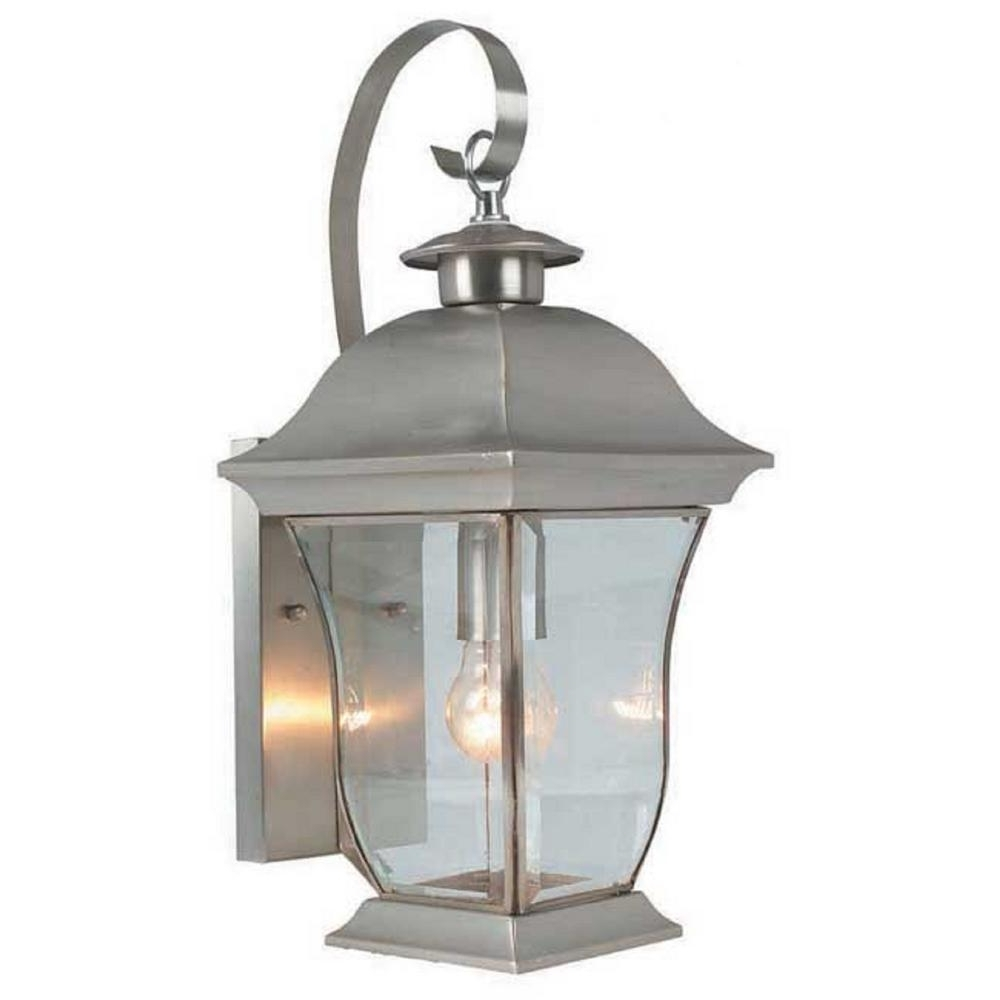 Nickel Outdoor Lanterns Intended For Famous Bel Air Lighting Wall Flower 1 Light Brushed Nickel Outdoor Coach (Gallery 3 of 20)