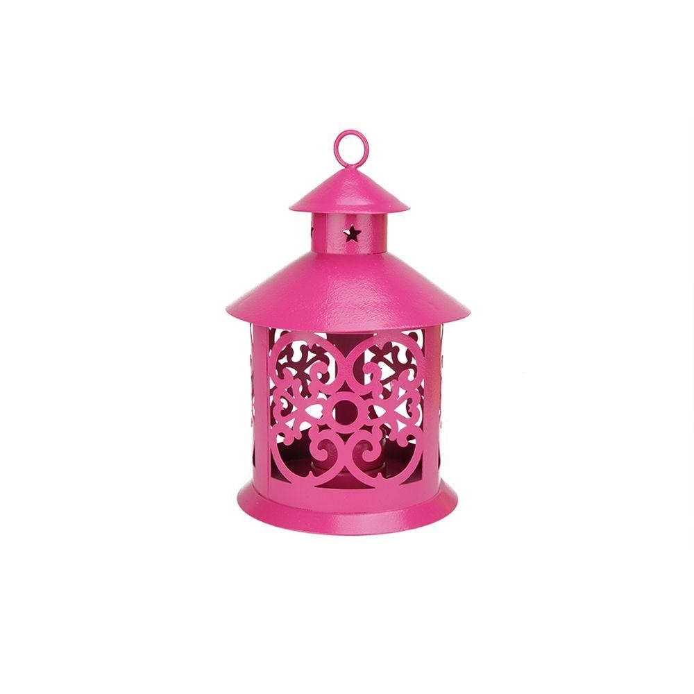Northlight 8 In. Shiny Pink Votive Or Tealight Candle Holder Lantern Throughout Well Liked Outdoor Tea Light Lanterns (Gallery 6 of 20)