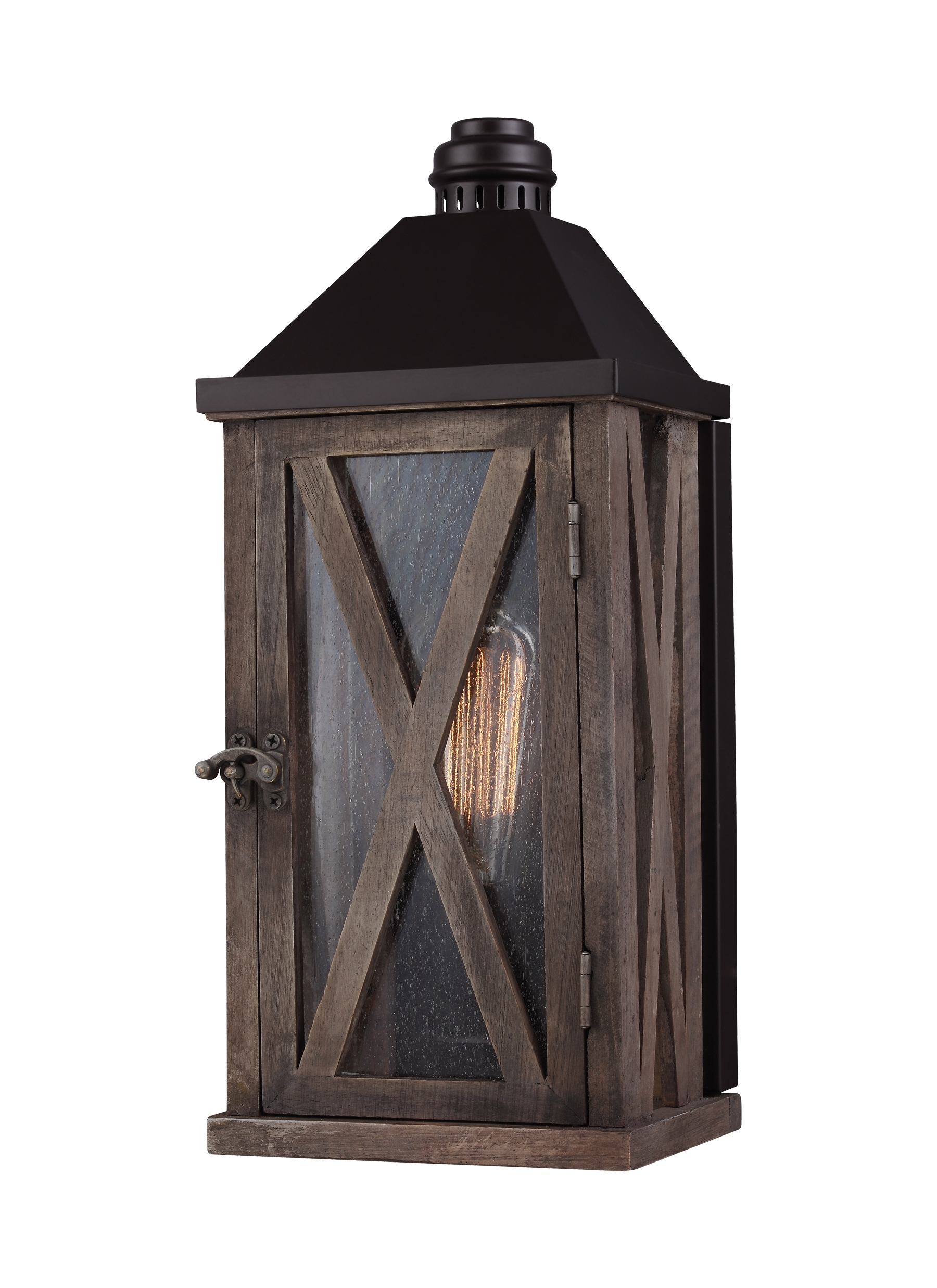 Ol17000dwo/orb,1 – Light Outdoor Wall Sconce,dark Weathered Oak With Regard To Recent Outdoor Lanterns And Sconces (View 9 of 20)