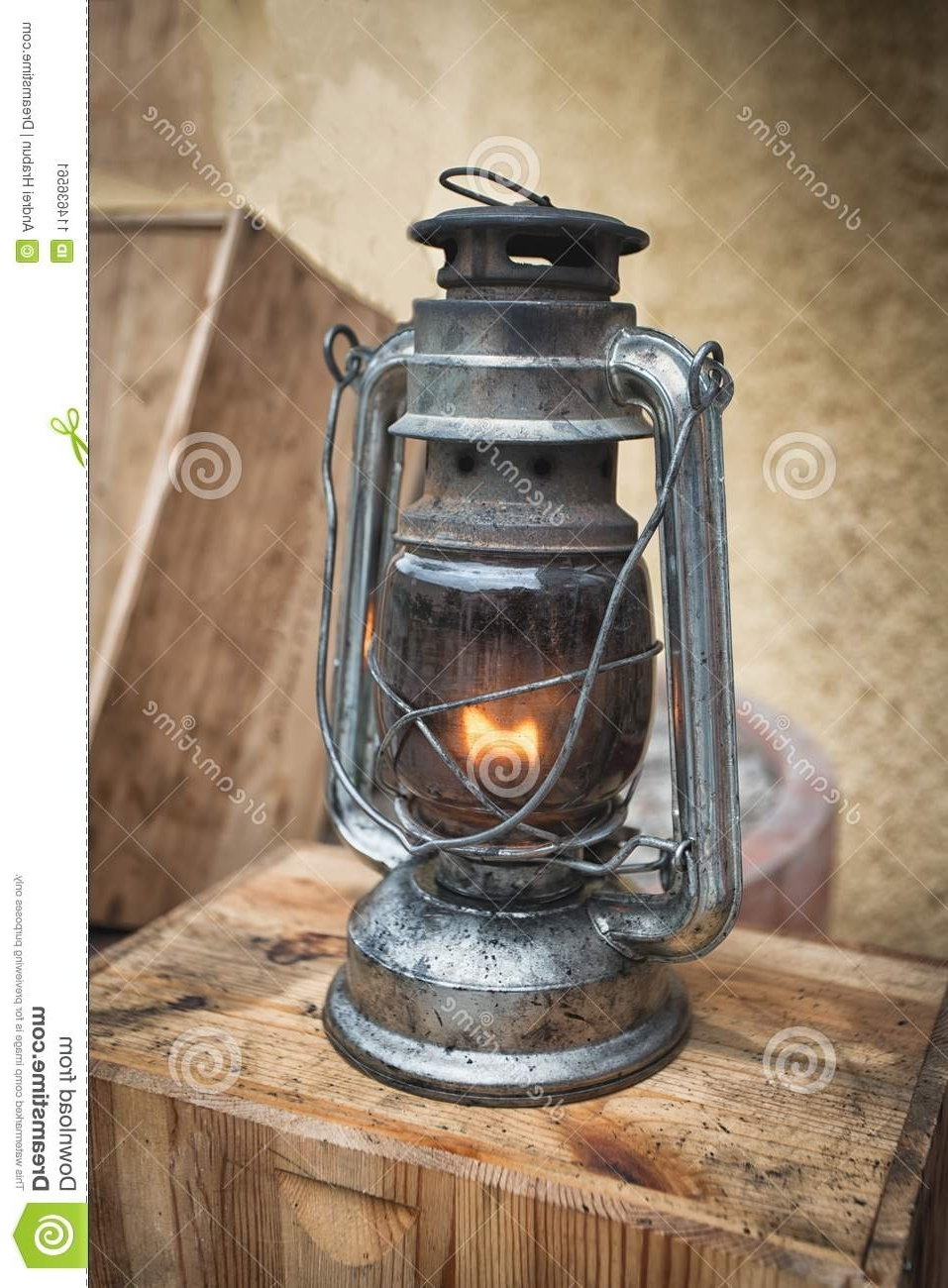 Old Fashioned Lantern On The Wooden Table. Vintage Style Metal Lamp With Regard To Current Outdoor Lanterns For Tables (Gallery 9 of 20)