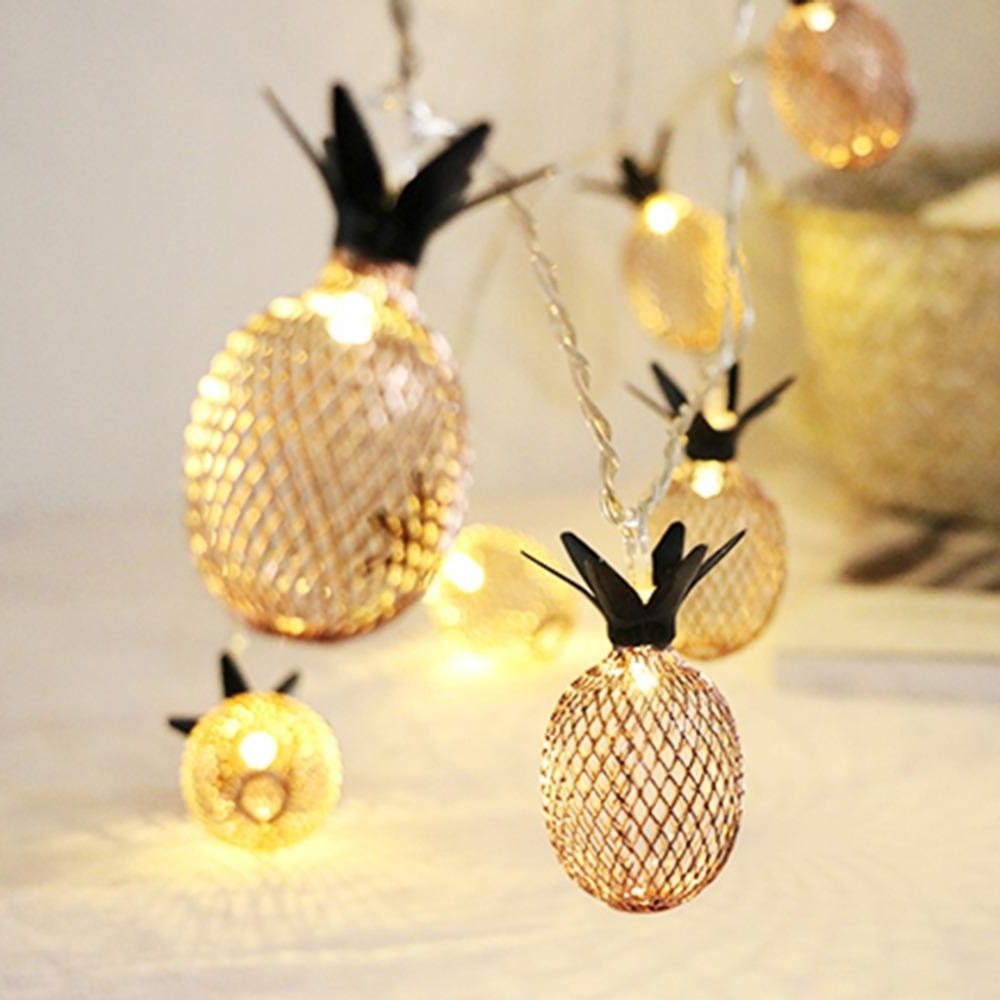 Oobest Vintage Bronze Color Led Lantern String Lights Mesh Pineapple Intended For Most Popular Outdoor Pineapple Lanterns (View 9 of 20)