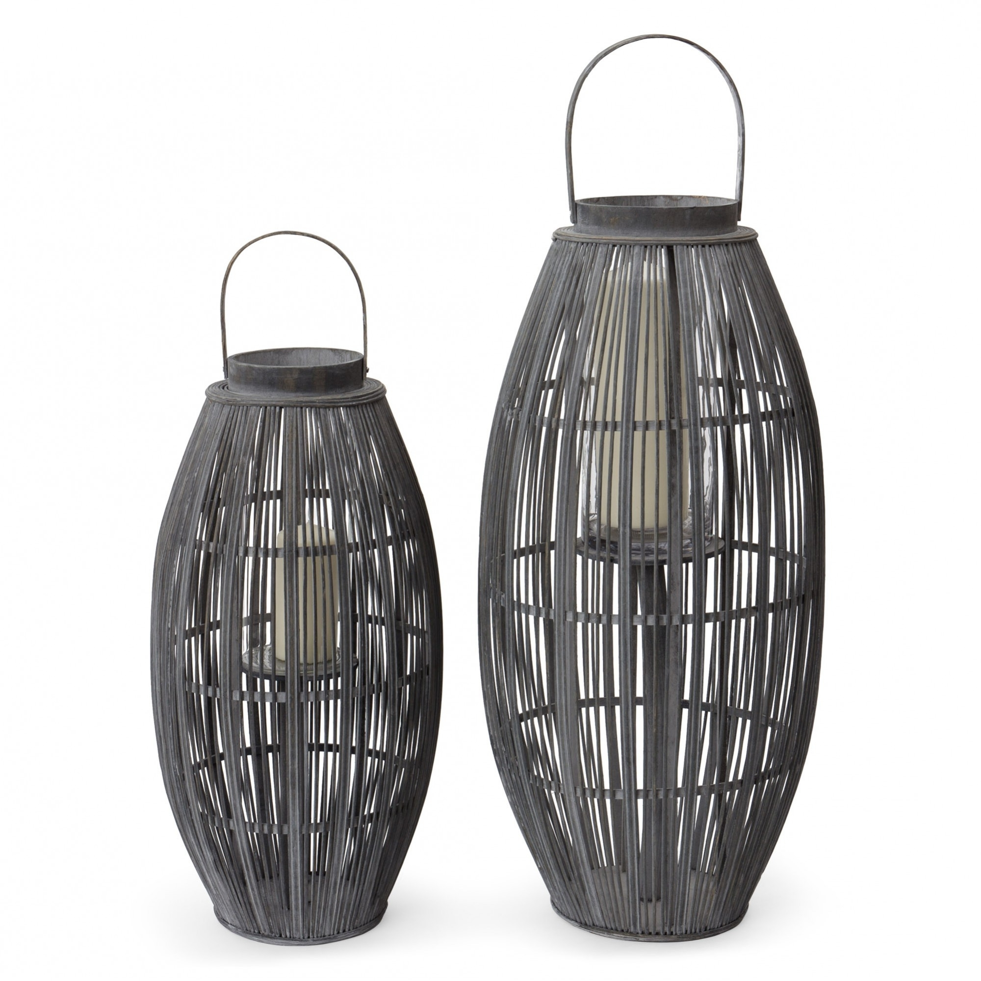 Outdoor Bamboo Lanterns Pertaining To Popular Niya Garden Lantern, Light Grey With Large Cage Design (Gallery 1 of 20)