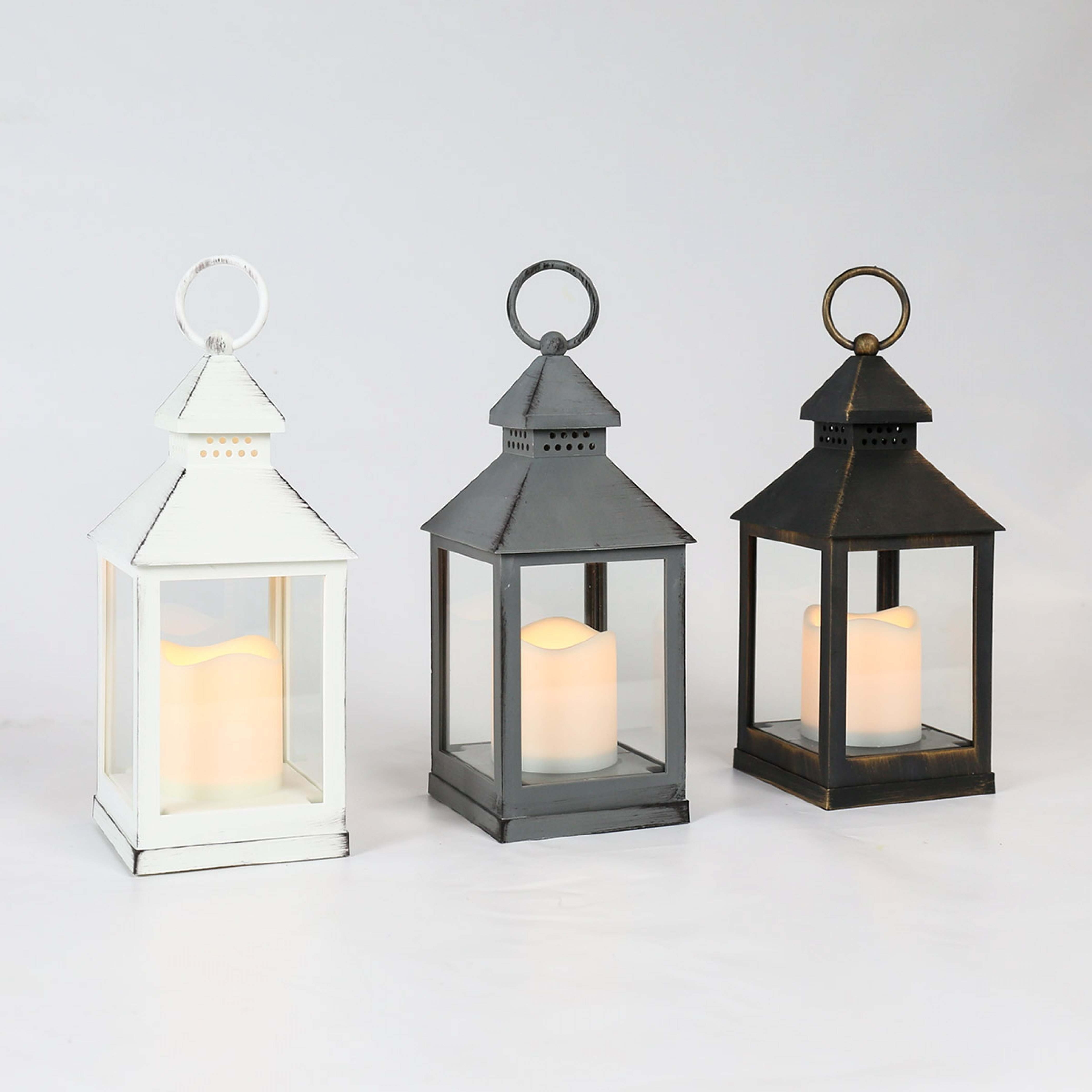 Outdoor Battery Flickering Candle Lantern, 24Cm Within Most Current Italian Outdoor Lanterns (View 15 of 20)