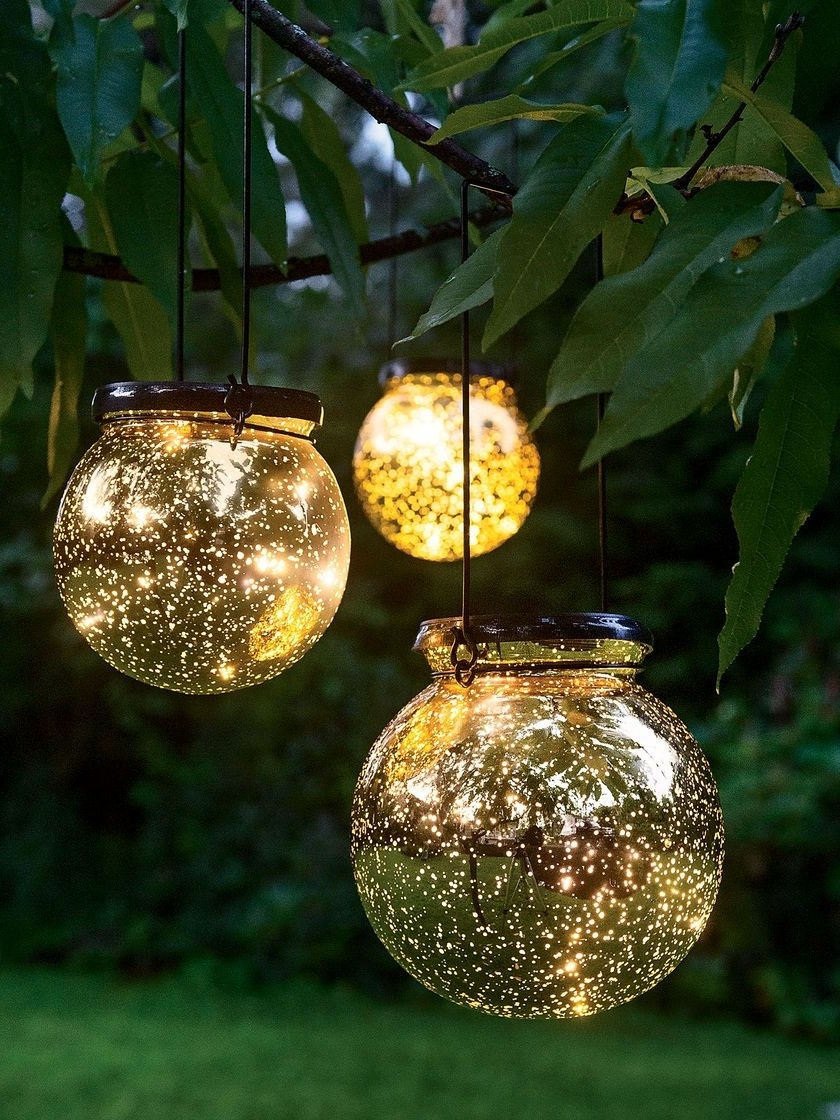 Outdoor Battery Lanterns For Patio Regarding Favorite Led Fairy Dust Ball: Outdoor Battery Operated Globe Lights – Mercury (Gallery 2 of 20)