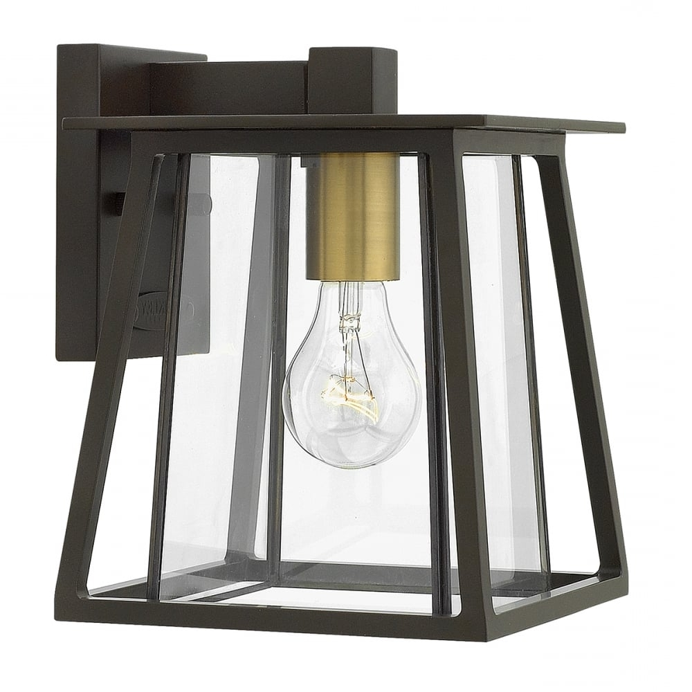 Outdoor Bronze Lanterns With Most Current Small Traditional Dark Bronze Outdoor Wall Lantern With Clear Glass (View 12 of 20)