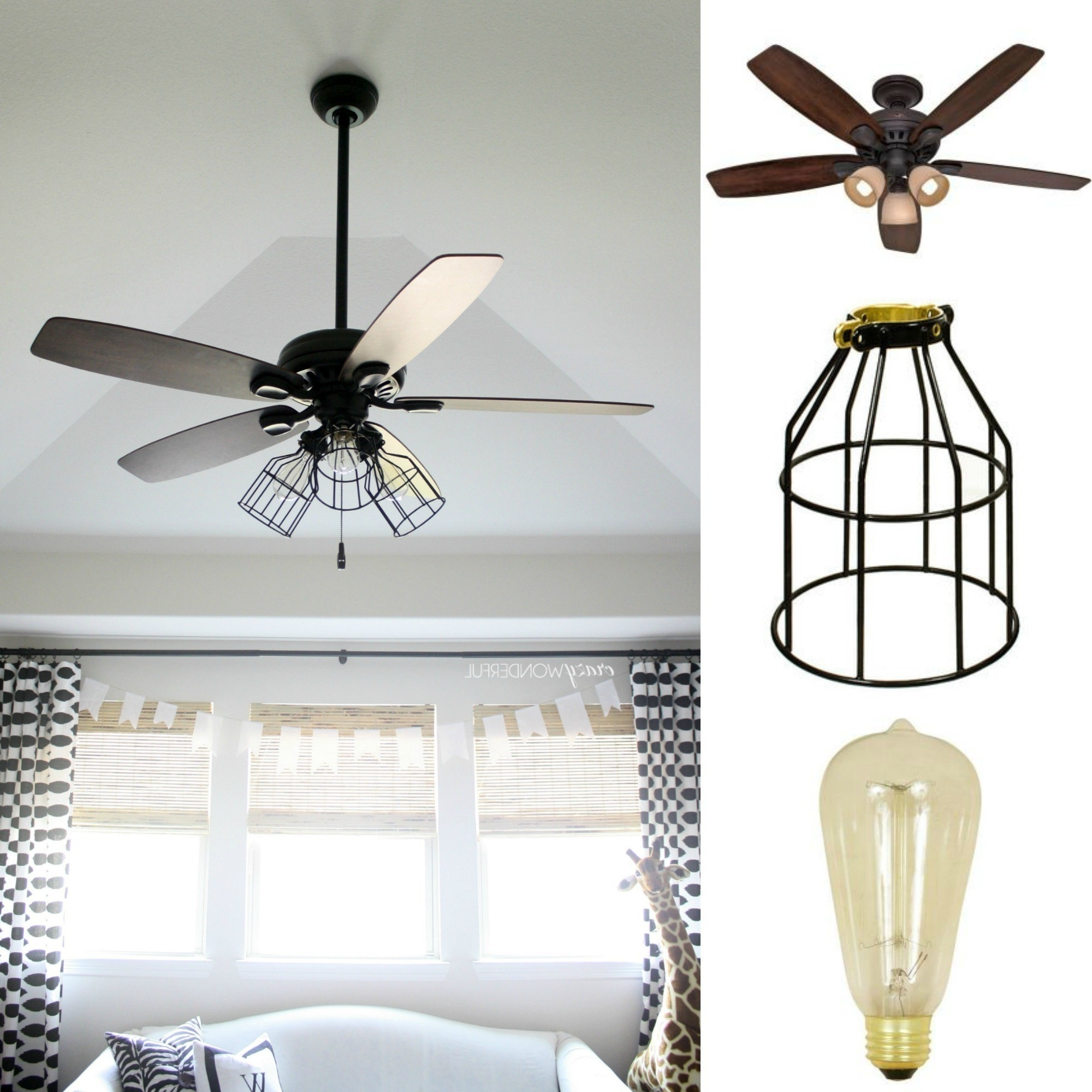 Outdoor Caged Ceiling Fans With Light Within Current Diy Cage Light Ceiling Fan · A Hanging Light · Home + Diy On Cut Out (View 15 of 20)