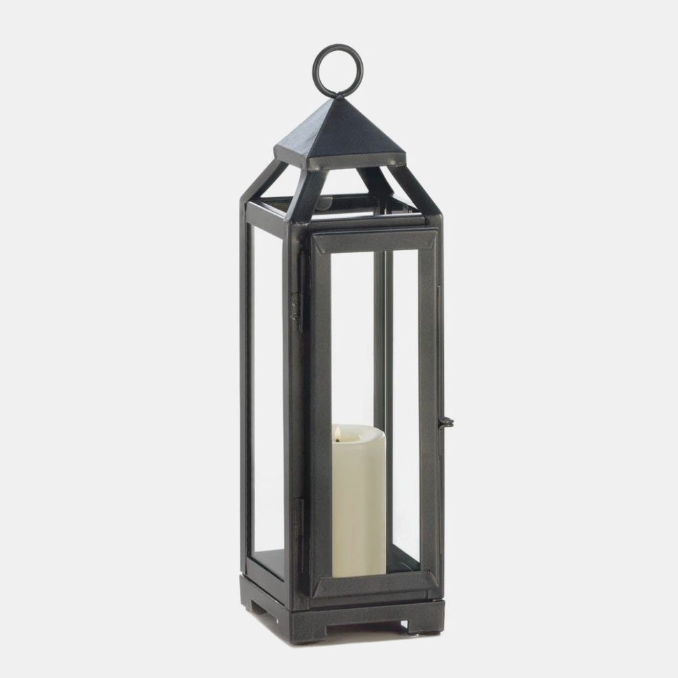 Outdoor Candle Lanterns For Patio Regarding Most Recent Candle Lantern, Outdoor Decorative Patio Tall Slate Black Metal (View 9 of 20)