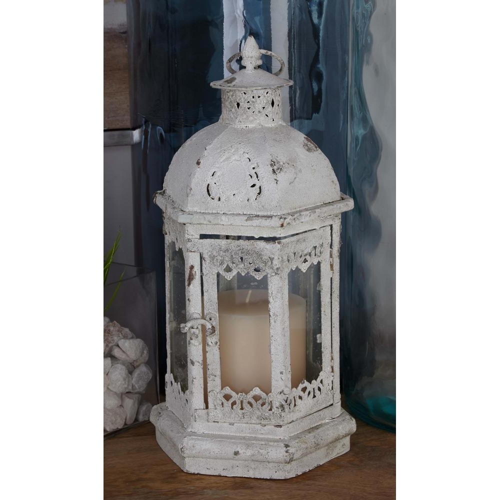 Outdoor Candle Lanterns Throughout Latest Litton Lane Rustic Distressed White Iron And Glass Candle Lantern (View 11 of 20)