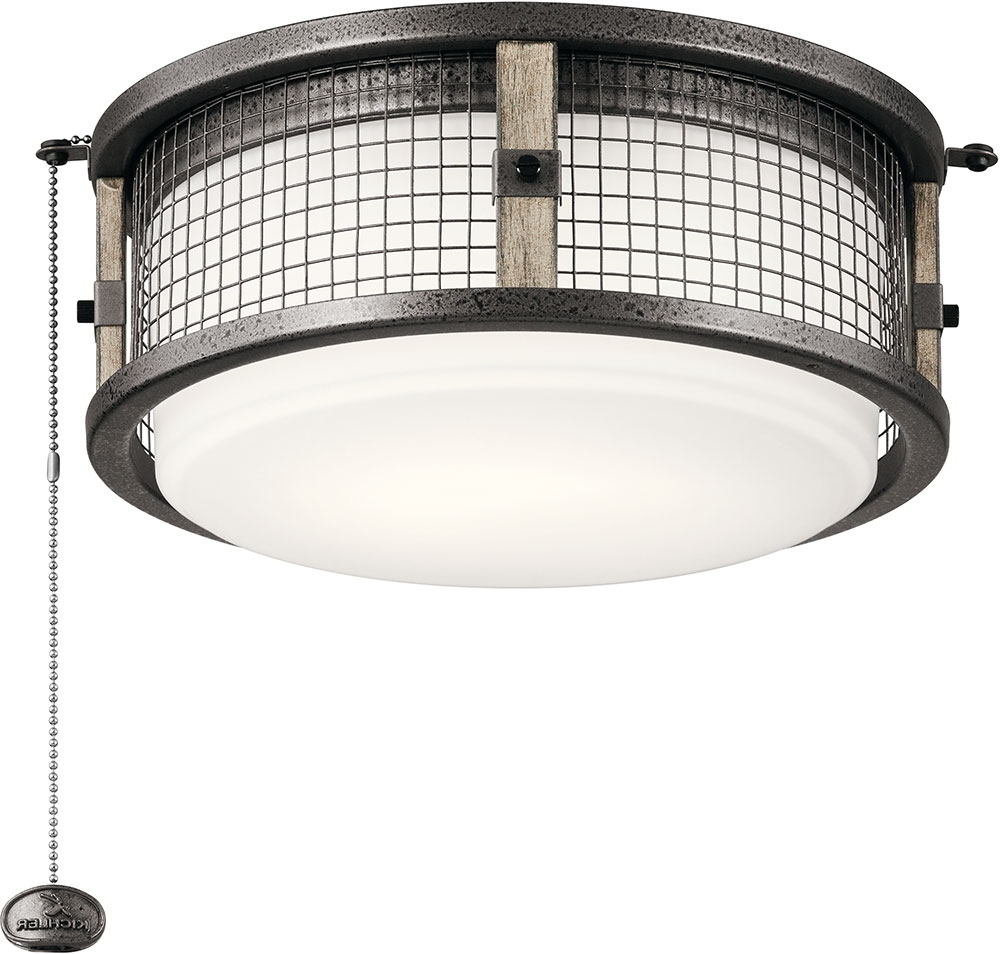 Outdoor Ceiling Fan Light Fixtures Within Most Up To Date Kichler 380949Avi Ahrendale Contemporary Anvil Iron Led Indoor (View 17 of 20)