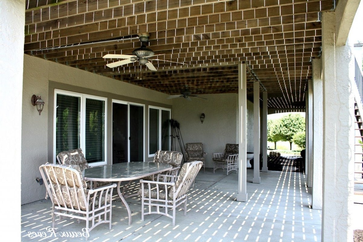 Outdoor Ceiling Fan Under Deck Throughout Current Picturesque Installing An Underdeck System Awnings In Decks To (View 12 of 20)