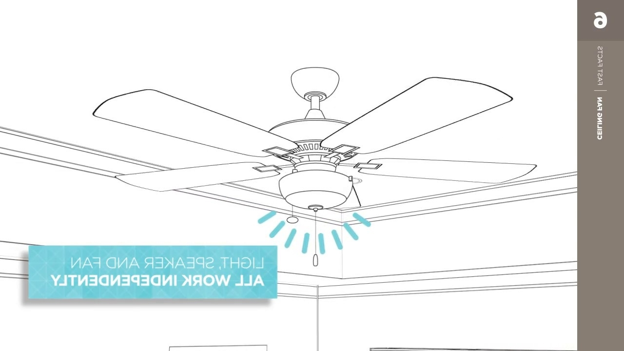 Outdoor Ceiling Fan With Bluetooth Speaker Throughout 2018 Bluetooth Speaker Kit – Kichler Ceiling Fan Fast Facts – Youtube (View 14 of 20)