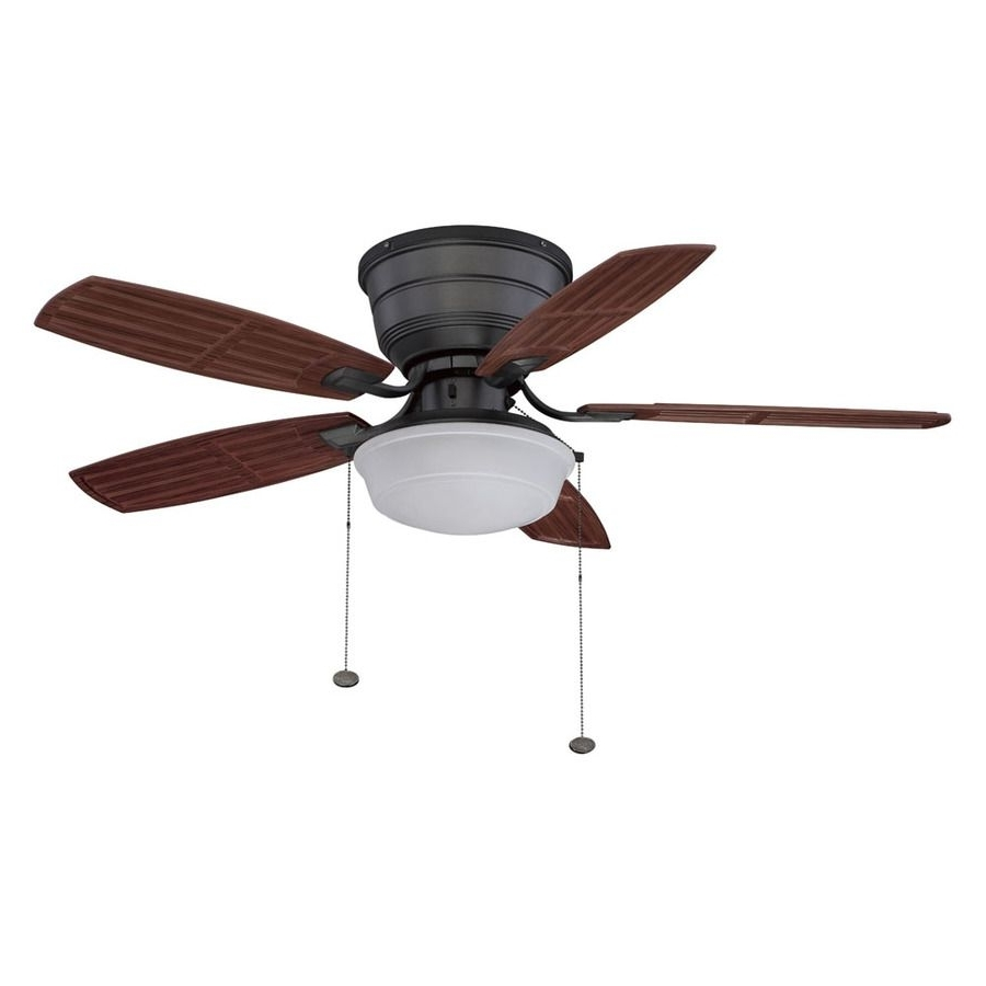 Outdoor Ceiling Fans Flush Mount With Light In Well Known Shop Litex 44 In Natural Iron Outdoor Flush Mount Ceiling Fan With (View 12 of 20)