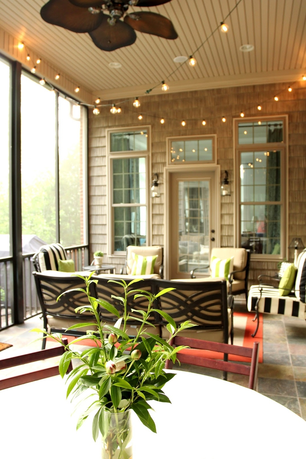 Outdoor Ceiling Fans For Screened Porches In Famous Houses: Fantastic Beige Front Porch As Living Room Area With Screen (View 11 of 20)