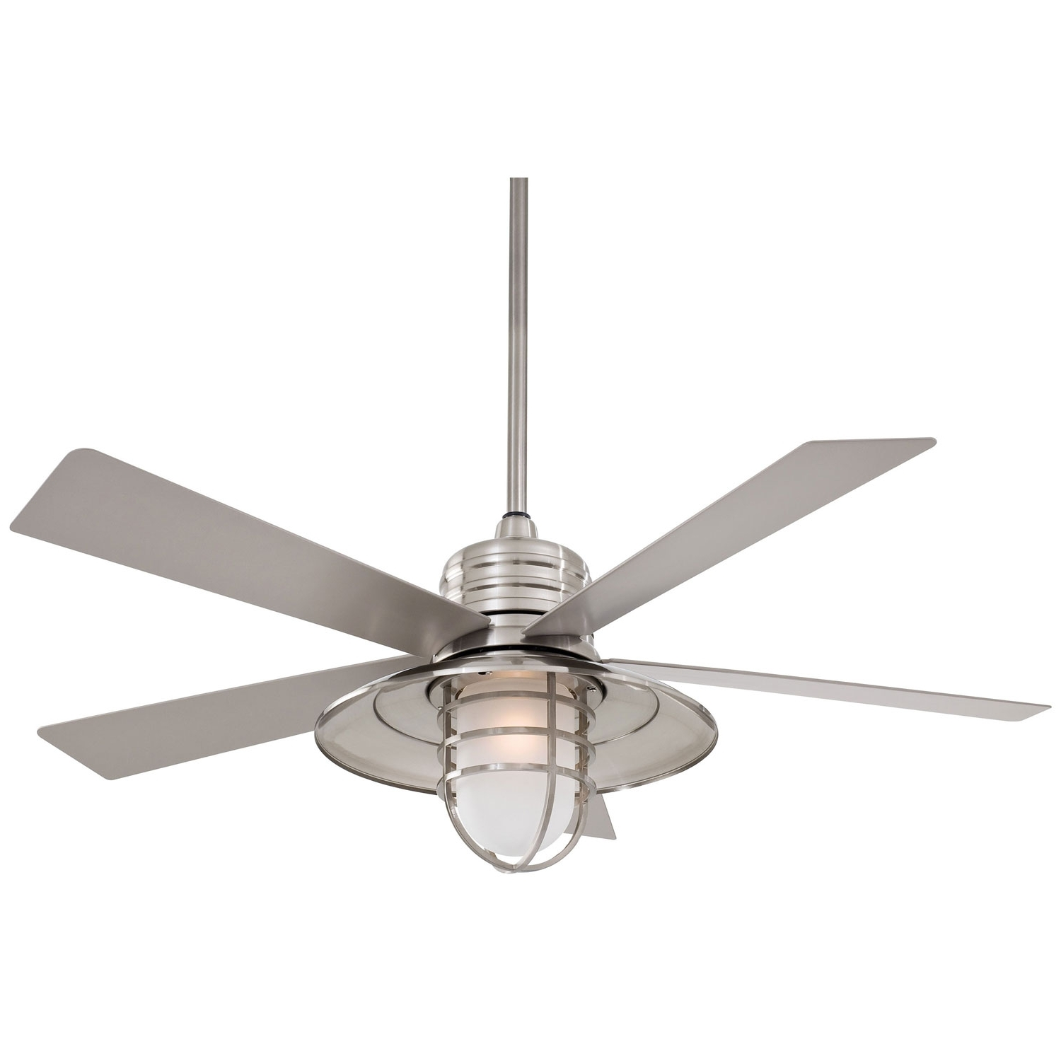 Outdoor Ceiling Fans For Wet Locations Inside Most Popular Minka Aire Rainman Brushed Nickel 54 Inch Blade Indoor/outdoor (View 10 of 20)