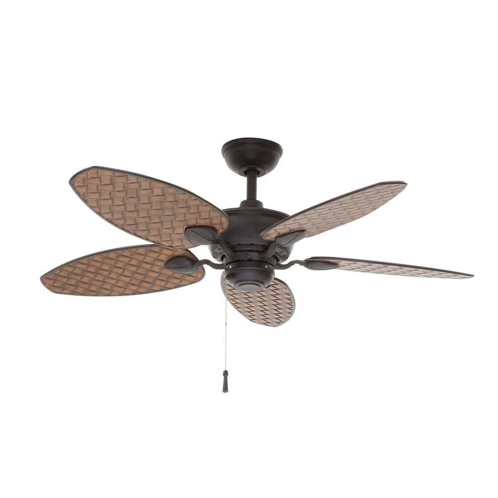 Outdoor Ceiling Fans Under $100 Intended For Most Up To Date Brown – Outdoor – Ceiling Fans – Lighting – The Home Depot (View 2 of 20)