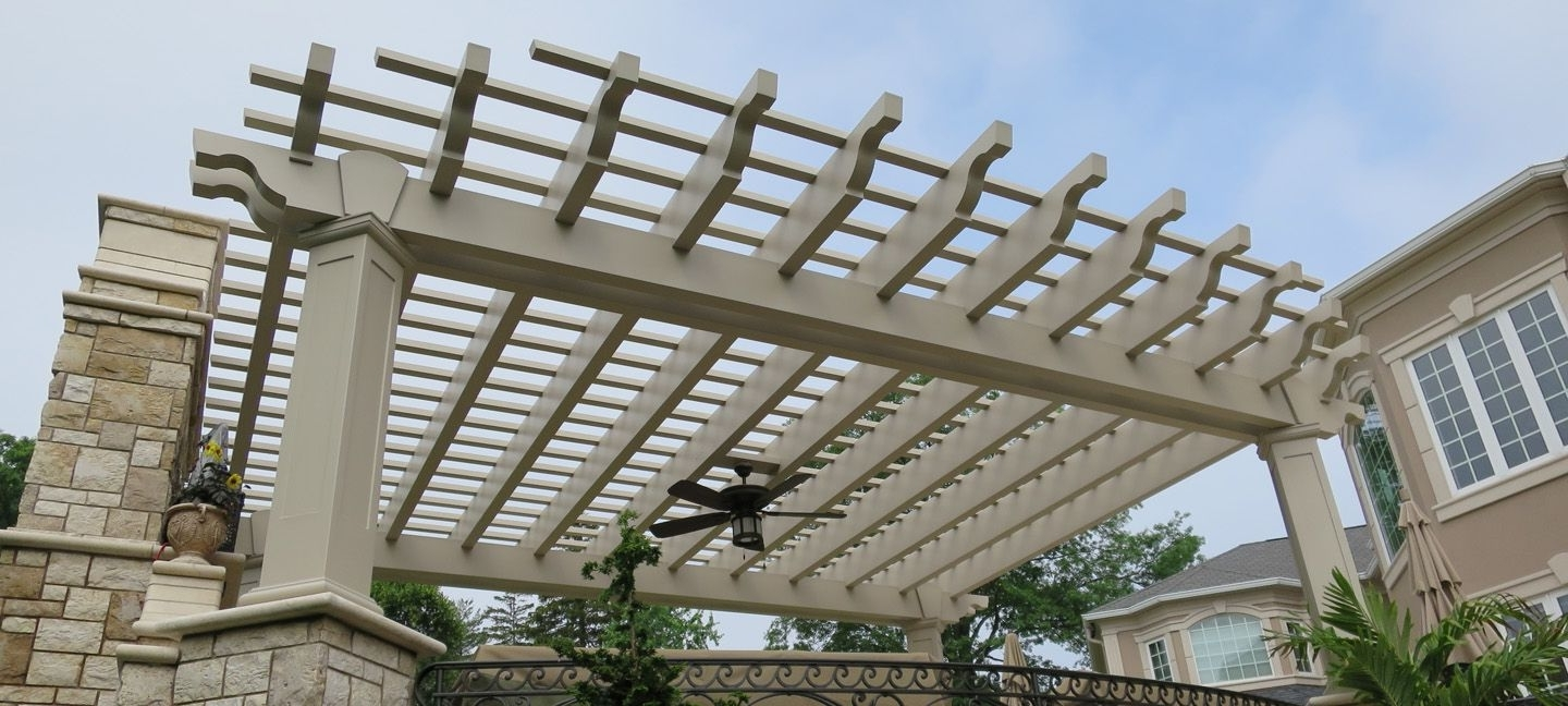 Outdoor Ceiling Fans Under Pergola With Most Current Baldwin Fiberglass Pergolas (View 13 of 20)