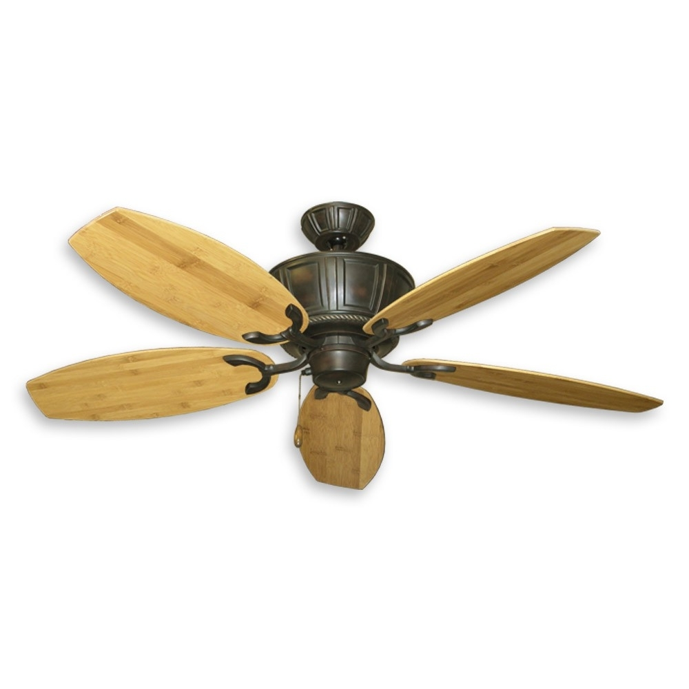 Outdoor Ceiling Fans With Bamboo Blades In Recent Tropical Ceiling Fans With Palm Leaf Blades, Bamboo, Rattan And More (View 12 of 20)