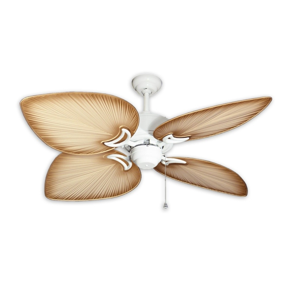 Outdoor Ceiling Fans With Covers Throughout Well Known Outdoor Tropical Ceiling Fan – Brushed Nickel Bombaygulf Coast Fans (View 17 of 20)