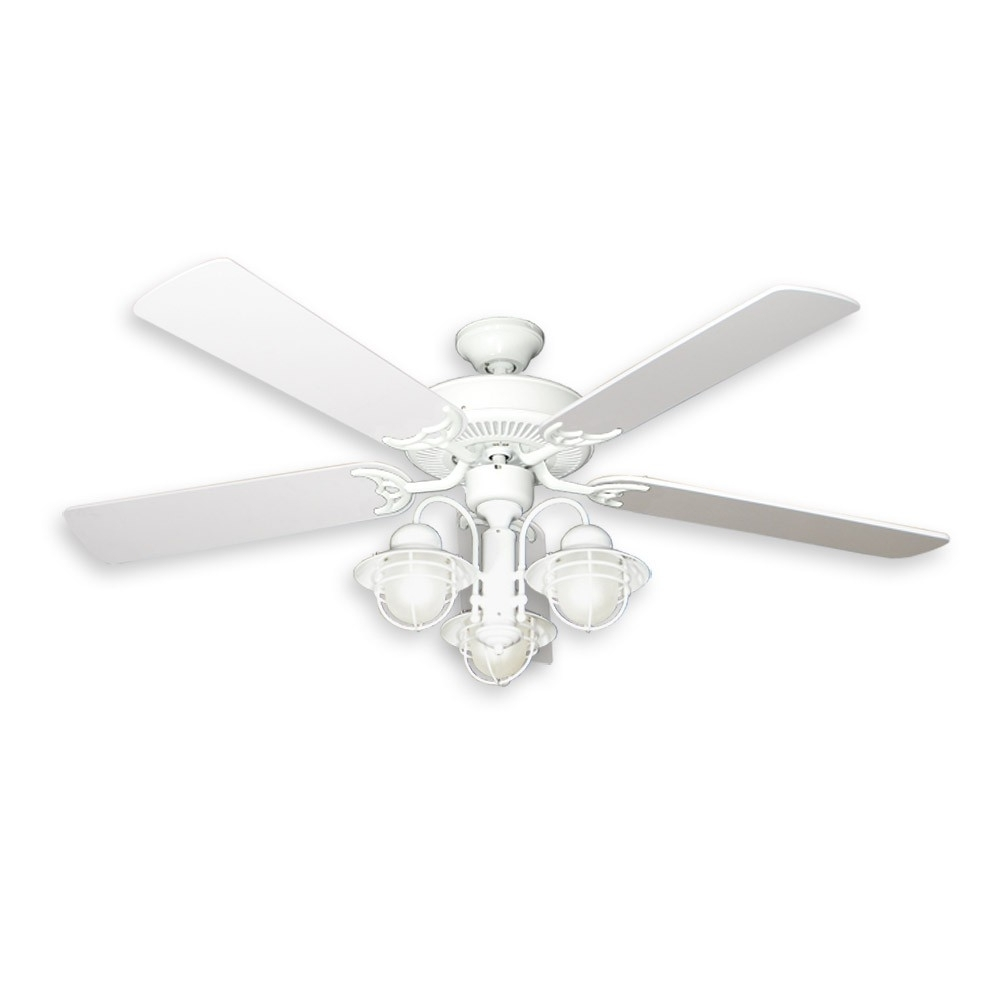 """Outdoor Ceiling Fans With Dimmable Light In Best And Newest 52"""" Nautical Ceiling Fan With Light – Pure White Finish – Unique (View 10 of 20)"""