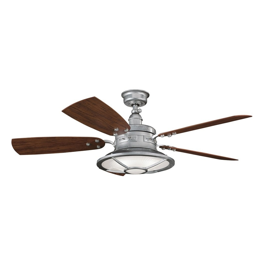 Outdoor Ceiling Fans With Downrod Intended For Most Popular Shop Kichler Harbour Walk Patio 52 In Galvanized Steel Indoor (View 10 of 20)