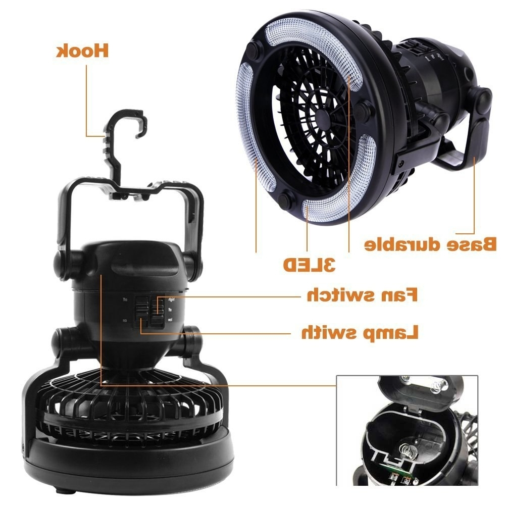 Outdoor Ceiling Fans With Lantern Regarding Most Recent Portable Led Camping Lantern Ceiling Fan Outdoor Camping 2 In (View 17 of 20)