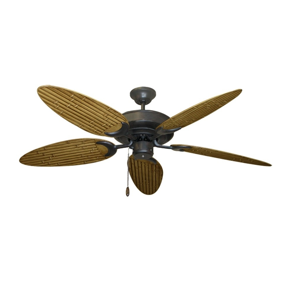 Outdoor Ceiling Fans With Leaf Blades Within Most Recent Tropical Ceiling Fans With Palm Leaf Blades, Bamboo, Rattan And More (View 15 of 20)