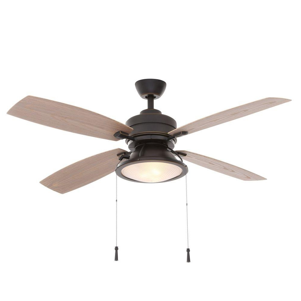 Outdoor Ceiling Fans With Lights At Home Depot Within Best And Newest Hampton Bay Kodiak 52 In (View 17 of 20)