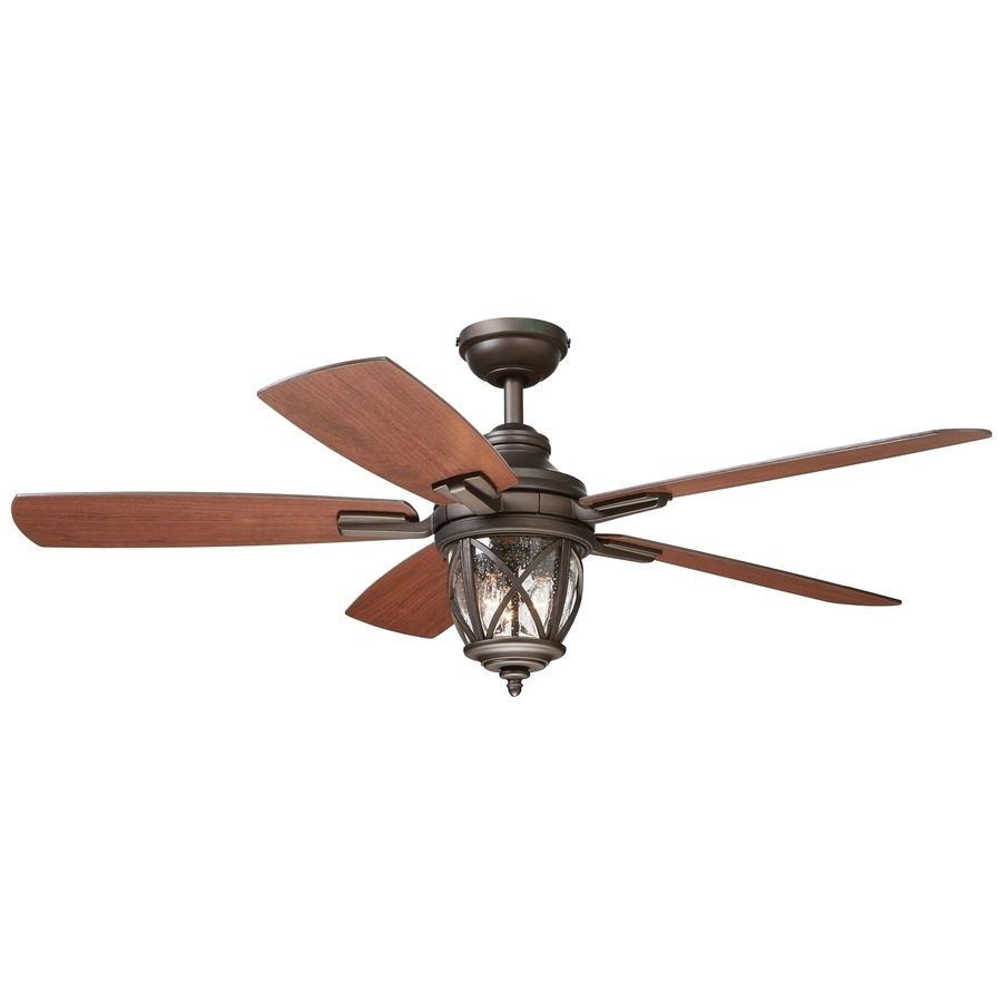 Outdoor Ceiling Fans With Lights Damp Rated Inside Well Liked Shop Allen + Roth Castine 52 In Rubbed Bronze Indoor/outdoor Downrod (View 12 of 20)