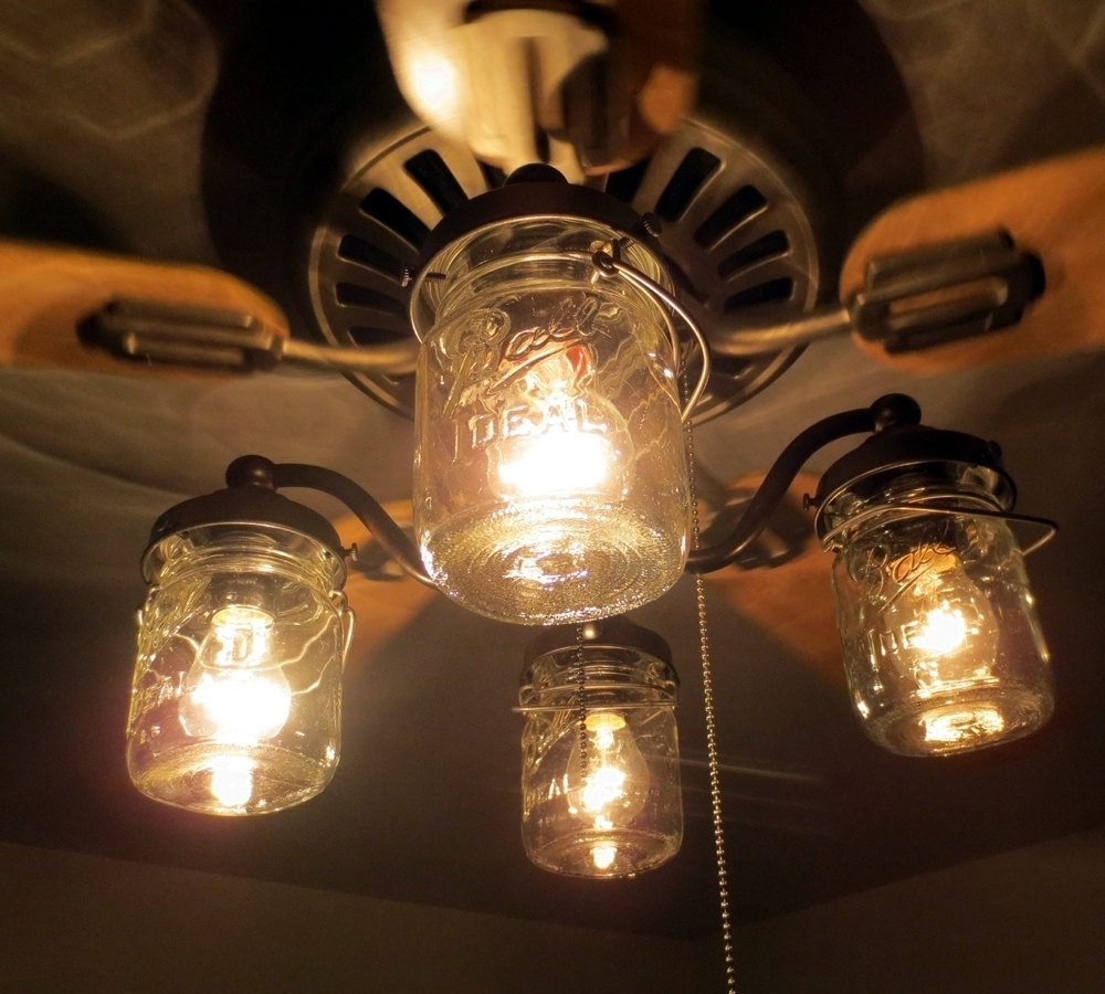 Outdoor Ceiling Fans With Mason Jar Lights For Current Unique Ceiling Fan With Mason Jar Shades Light Kit Fans Within (View 14 of 20)