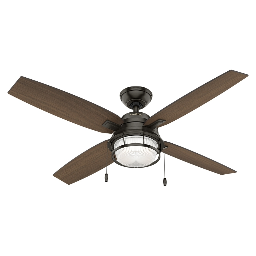 Outdoor Ceiling Fans With Metal Blades Inside Newest Shop Hunter Ocala 52 In Noble Bronze Indoor/outdoor Ceiling Fan With (View 14 of 20)