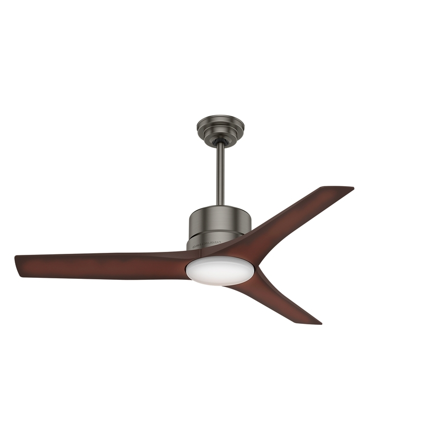 Outdoor Ceiling Fans With Remote And Light For Most Up To Date Shop Casablanca Piston Led 52 In Brushed Slate Led Indoor/outdoor (View 9 of 20)