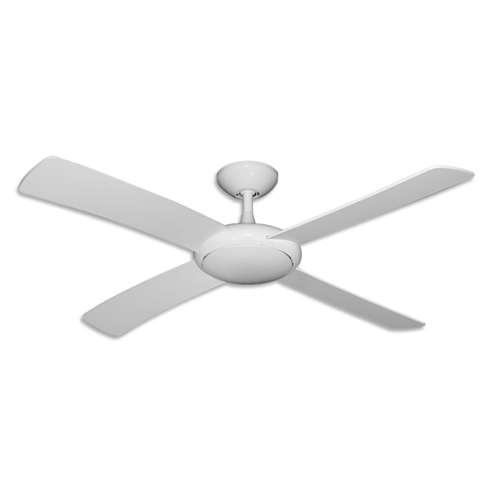 "Outdoor Ceiling Fans Without Lights In Fashionable Gulf Coast Luna Fan – 52"" Modern Outdoor Ceiling Fan – Pure White Finish (View 12 of 20)"