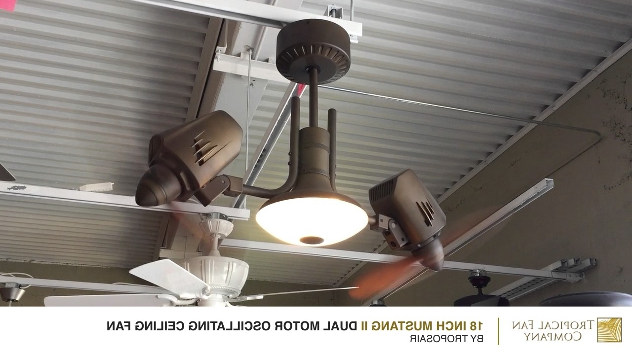 Outdoor Double Oscillating Ceiling Fans Intended For Best And Newest Mustang Ii Dual Motor Oscillating Ceiling Fantroposair – Youtube (View 9 of 20)
