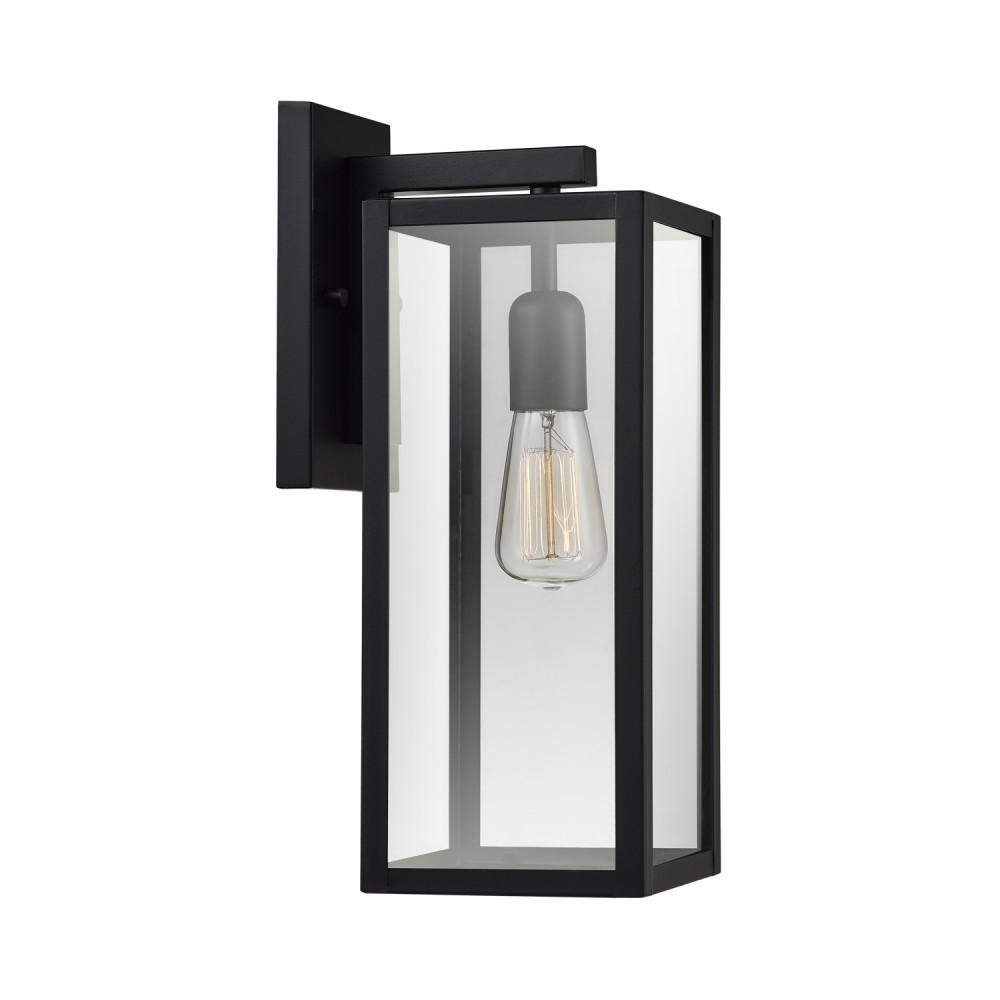 Outdoor Electric Lanterns Pertaining To Best And Newest Globe Electric Hurley 1 Light Matte Black Outdoor Wall Mount Sconce (Gallery 19 of 20)