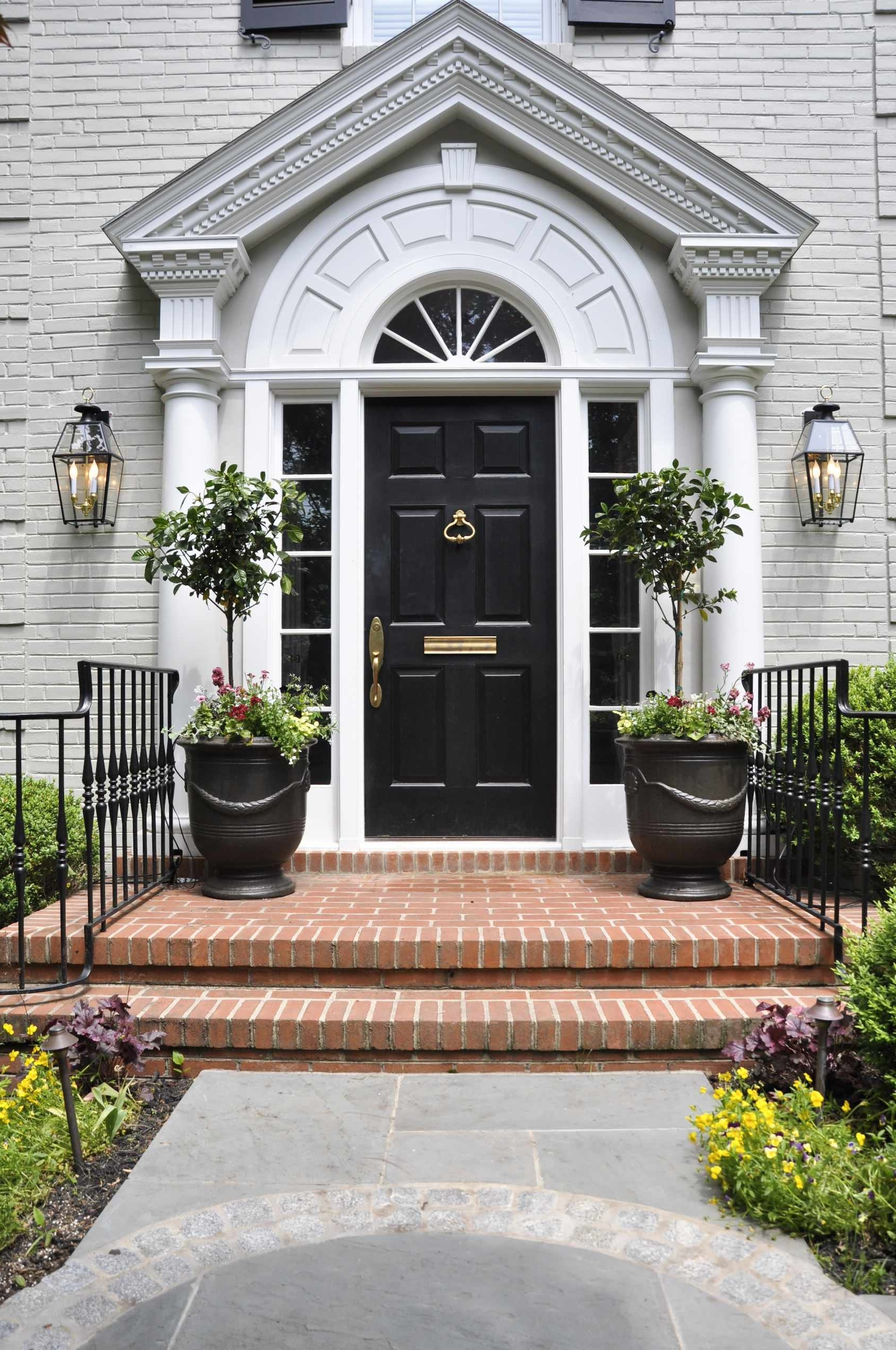 Outdoor Entrance Lanterns Pertaining To Latest Exterior Design: Decorating With Lanterns And Entrance Pots Also (Gallery 7 of 20)