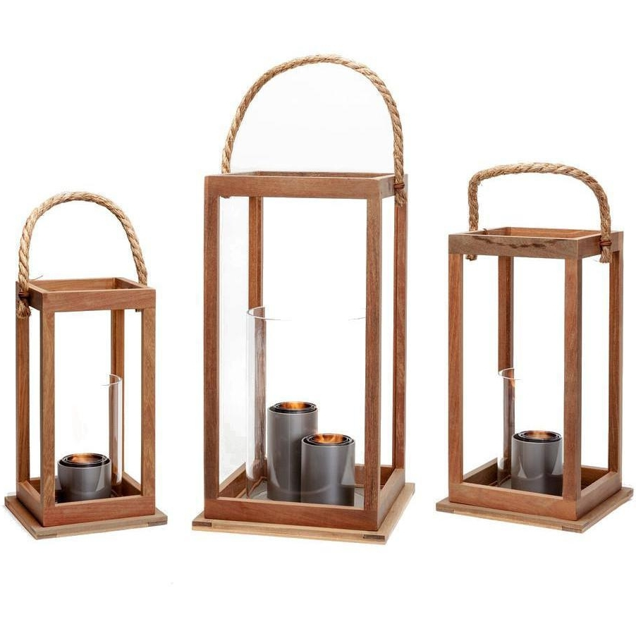 Outdoor Gel Lanterns With Regard To Well Known Terra Flame Sonoma 21 Inch Gel Lantern – Ipe Wood : Ultimate Patio (View 8 of 20)