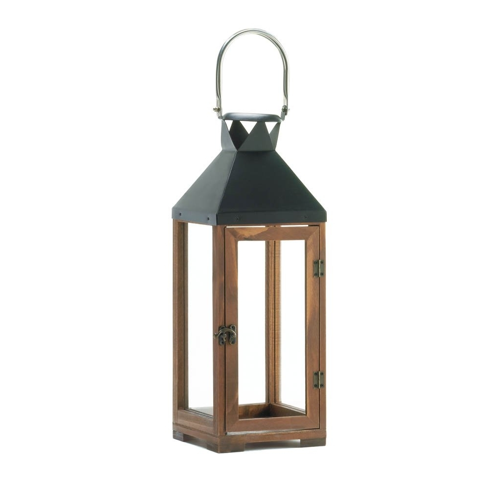 Outdoor Glass Lanterns Regarding Most Recent Decorative Candle Lanterns, Pine Wood Rustic Wooden Candle Lantern (View 13 of 20)