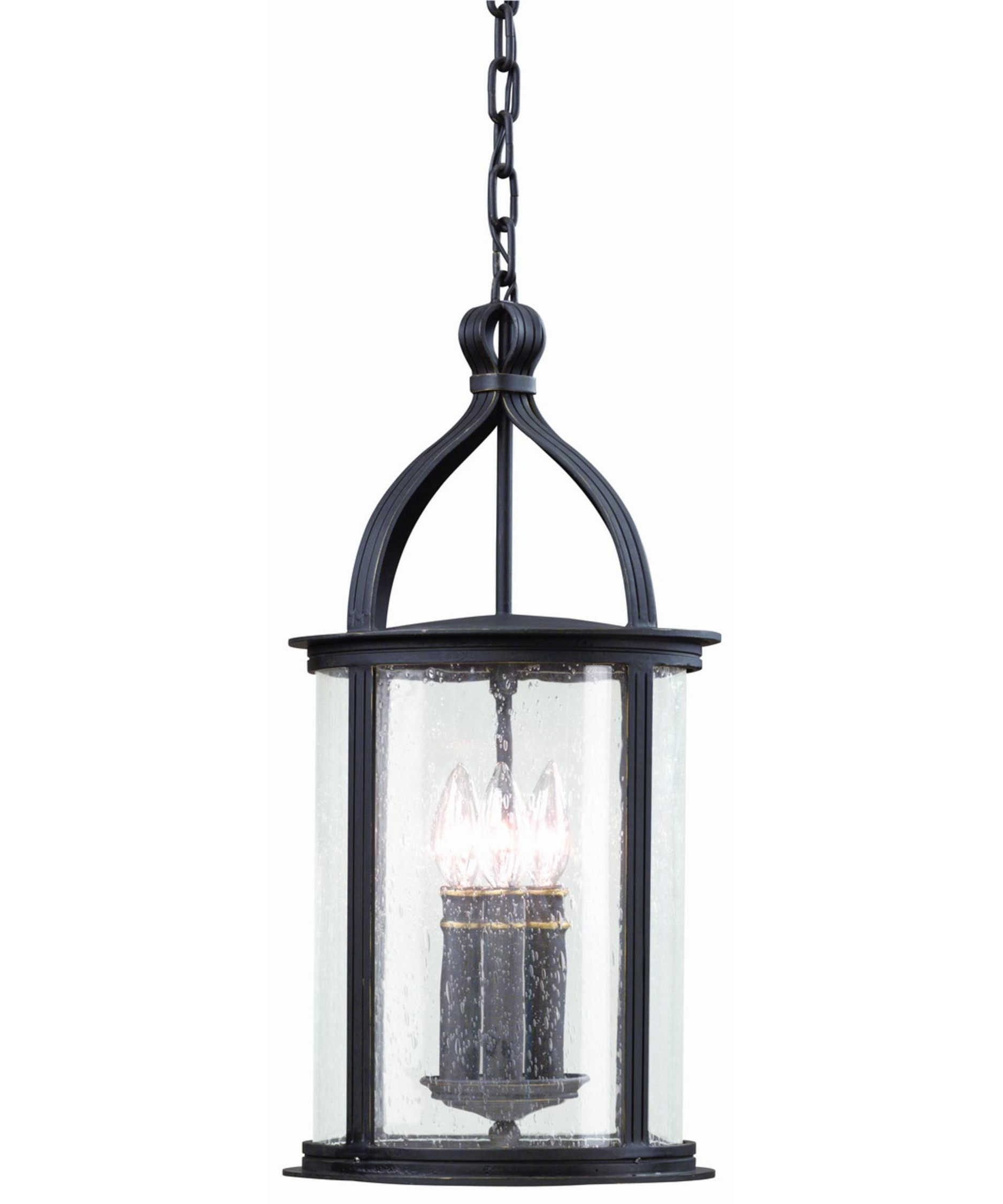 Outdoor Glass Lanterns Throughout Most Recently Released Troy Lighting F9476 Scarsdale 10 Inch Wide 3 Light Outdoor Hanging (View 9 of 20)