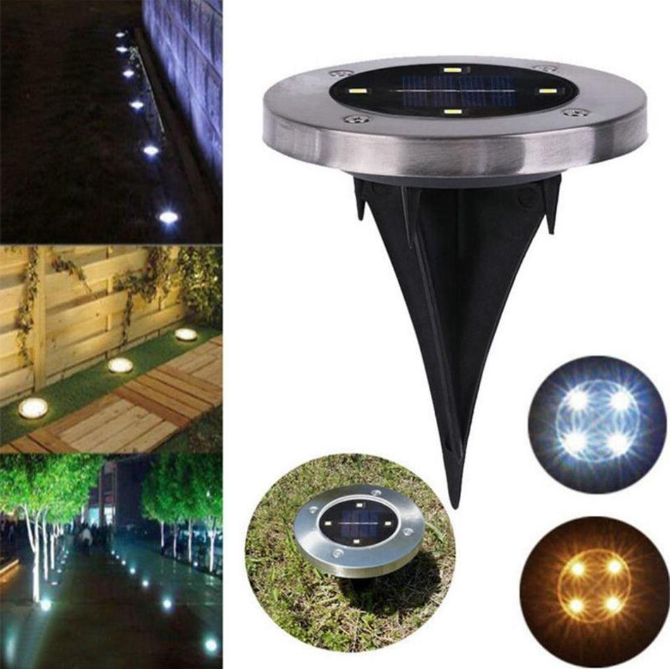 Outdoor Ground Lanterns Intended For Well Liked Waterproof Solar Powered 4Led Disk Lights Buried Light Outdoor Under (Gallery 11 of 20)