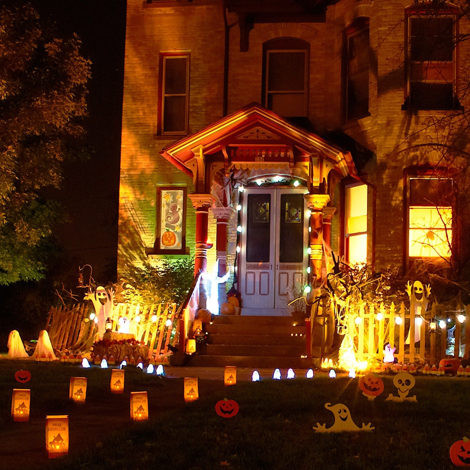 Outdoor Halloween Lanterns With Well Liked Charming Front Yard Halloween Decor Feat Wonderful Cute Monster With (View 7 of 20)