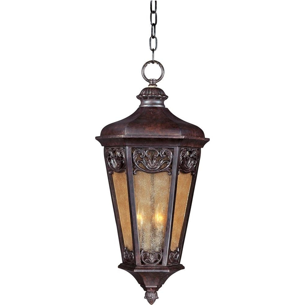 Outdoor Hanging Electric Lanterns Regarding Most Up To Date Maxim Lighting Lexington Vivex 3 Light Colonial Umber Outdoor (View 19 of 20)