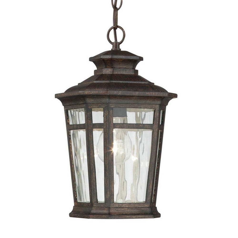 Outdoor Hanging Lanterns Regarding Current Home Decorators Collection Waterton 1 Light Dark Ridge Bronze (View 8 of 20)