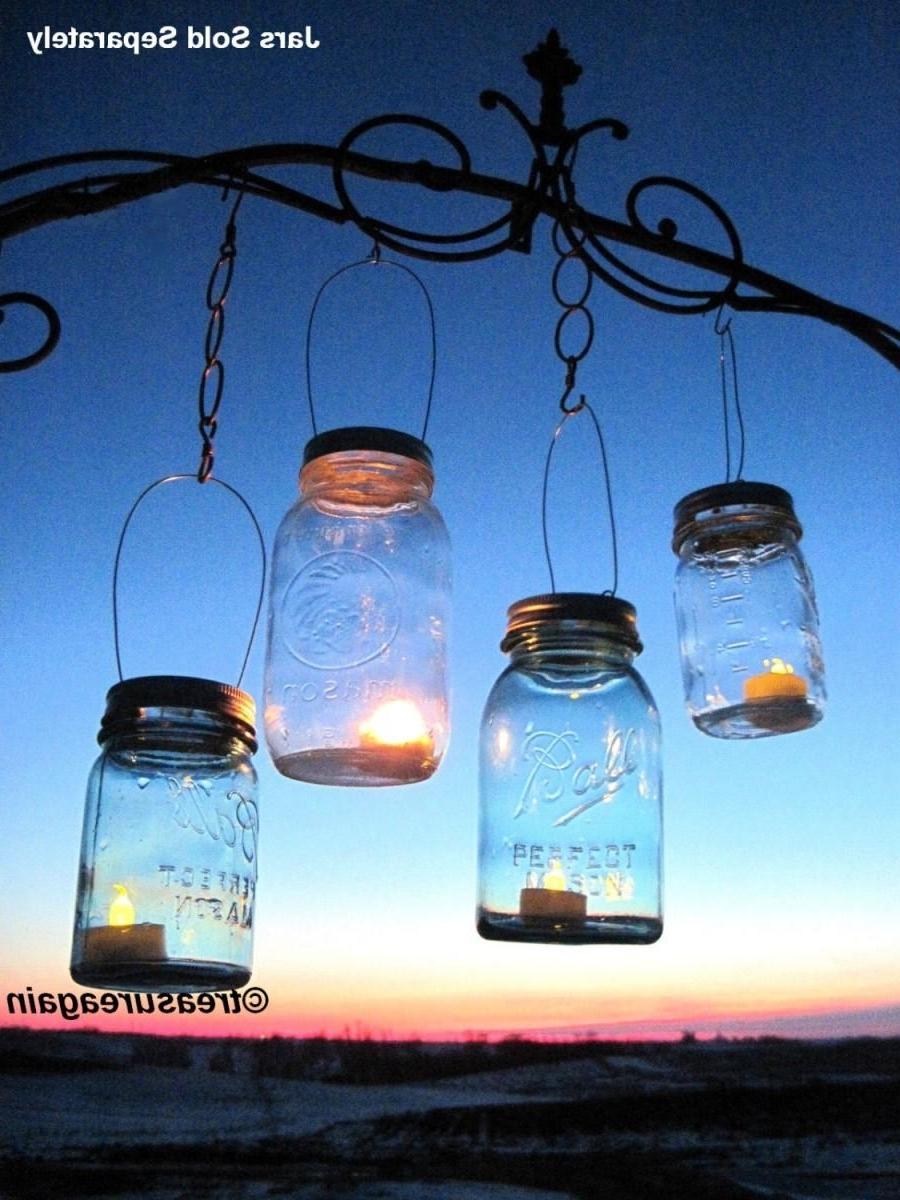 Outdoor Jar Lanterns For Newest 30 Candle Lantern Lids Diy Wedding Mason Jar Lanterns, Hanging (View 6 of 20)