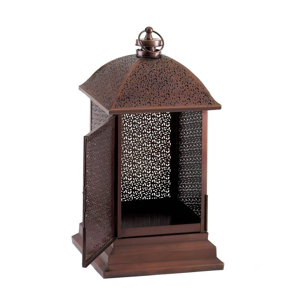 Outdoor Lantern Decor, Peregrine Large Metal Decorative Floor Regarding Fashionable Outdoor Decorative Lanterns (View 14 of 20)