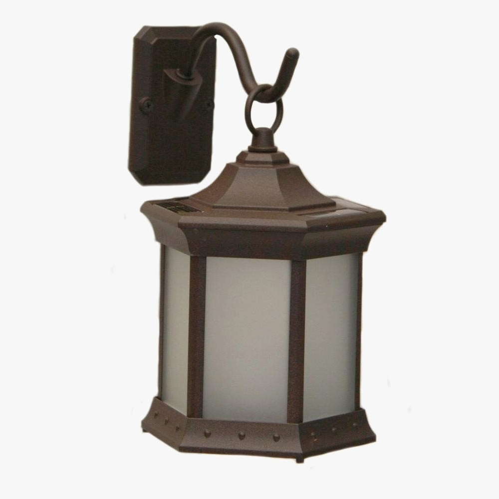 Outdoor Lantern Hooks Weathered Brown Powder Coated Lanterns Sconces Intended For 2019 Outdoor Lanterns And Sconces (Gallery 16 of 20)