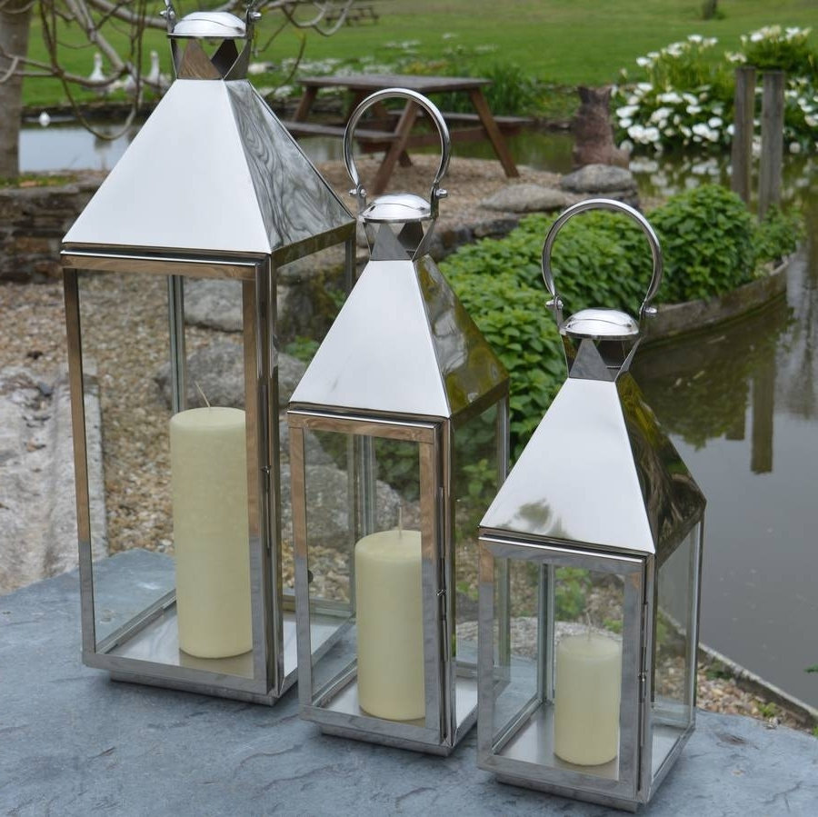 Outdoor Lanterns And Candles Throughout Well Liked Tall Stainless Steel Garden Candle Lanternza Za Homes (View 3 of 20)