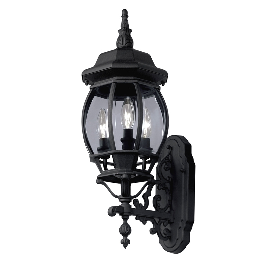 Outdoor Lanterns At Lowes Regarding Well Known Shop Portfolio 22.68 In H Black Outdoor Wall Light At Lowes (Gallery 11 of 20)