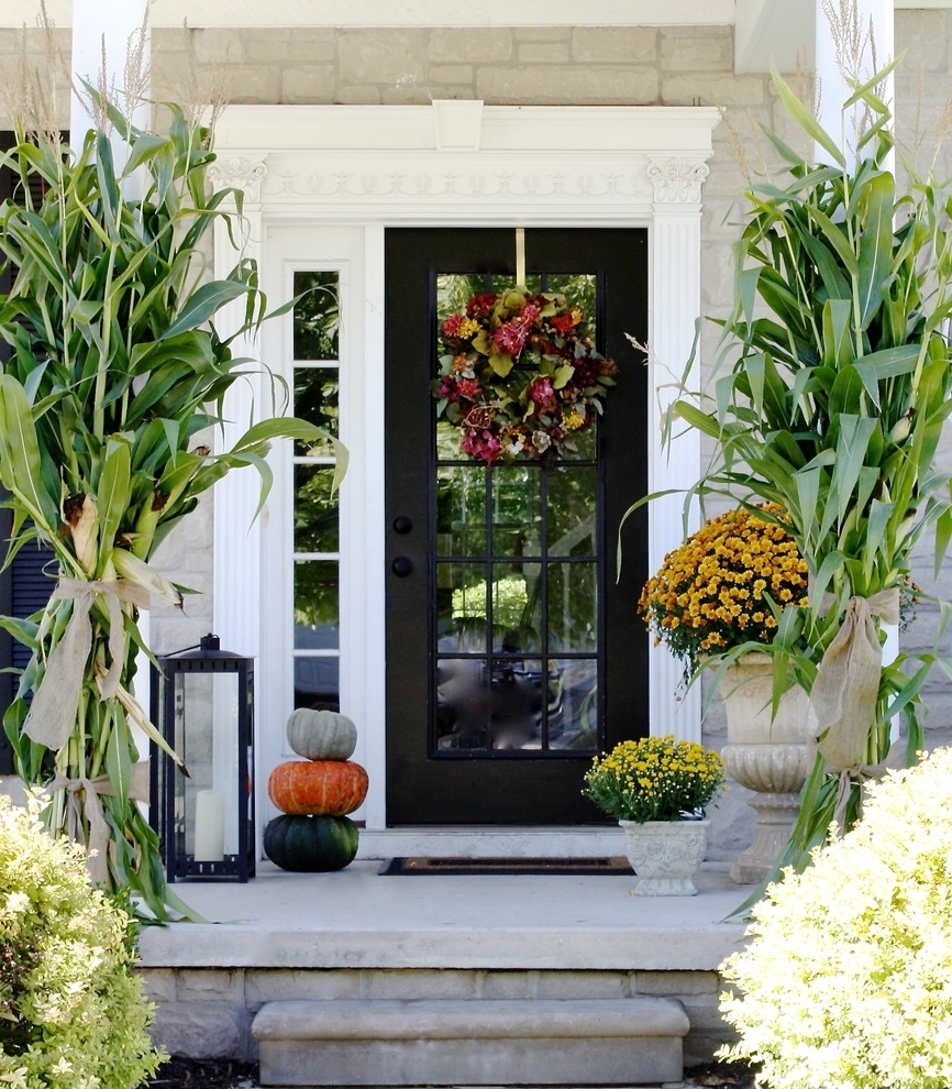 Outdoor Lanterns For Front Door Throughout Most Recent 85 Pretty Autumn Porch Décor Ideas – Digsdigs (Gallery 19 of 20)